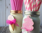 Birthday Party Accessory Set to Accessorize Glass Mason Jar Decor Laser Cut Wood Cotton Candy Ice Cream Cone Baby Shower First Birthday