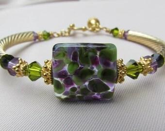 Grapevine Gossip Lampwork Bangle Bracelet