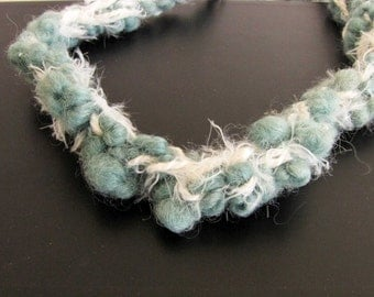 Fabric Crocheted Necklace White Green Fabric Necklace 118