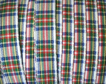 "Morex Dress Campbell Plaid Edinburgh Plaid Polyester Tartan Ribbon - White, Red, Blue, Green, Yellow -3/8"" wide - 5 Yards Total"