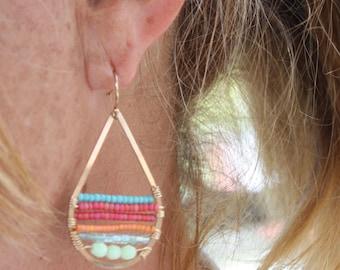 Wire Wrapped Teardrop Hops - Gold Filled - Handmade - Colorful Earrings - Beaded Earrings