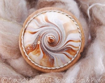 The Clay Sheep Drop Spindle - Cream Swirl Top Whorl Drop Spindle - Large 2.13 oz