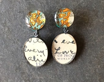 Vintage Coastline Map and Postcard Sterling Silver Oxidized Earrings : Traveling Love Letters Mother's Day Gift Free USA Shipping Every Love