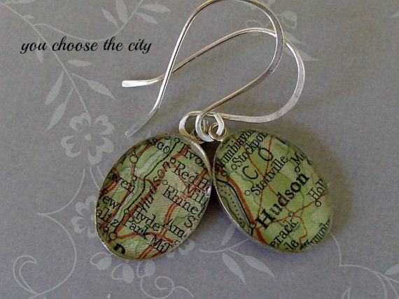 Custom Oval Map Earrings  Sterling Silver Vintage Atlas and Resin Hand Forged Ear Wires Free US Shipping