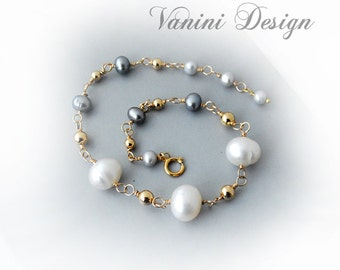 Pearls & Gold - 14k gold fill and pearls bracelet