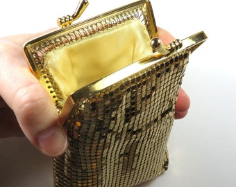 SJK Vintage -- Gold Mesh, Liquid Gold, Padded, Lined, Change Purse, Pouch, Small Clutch Bag (1960's)