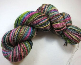 SALE 20 Percent Off -- Hand Dyed Hand Spun Sport Yarn, Navajo Plied 3-Ply Superwash BFL -- Emo in a Blender  (110 grams/288 yards)