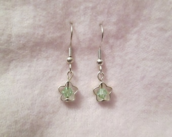Light Green Swarovski Crystal and Silver Plated Star Earrings