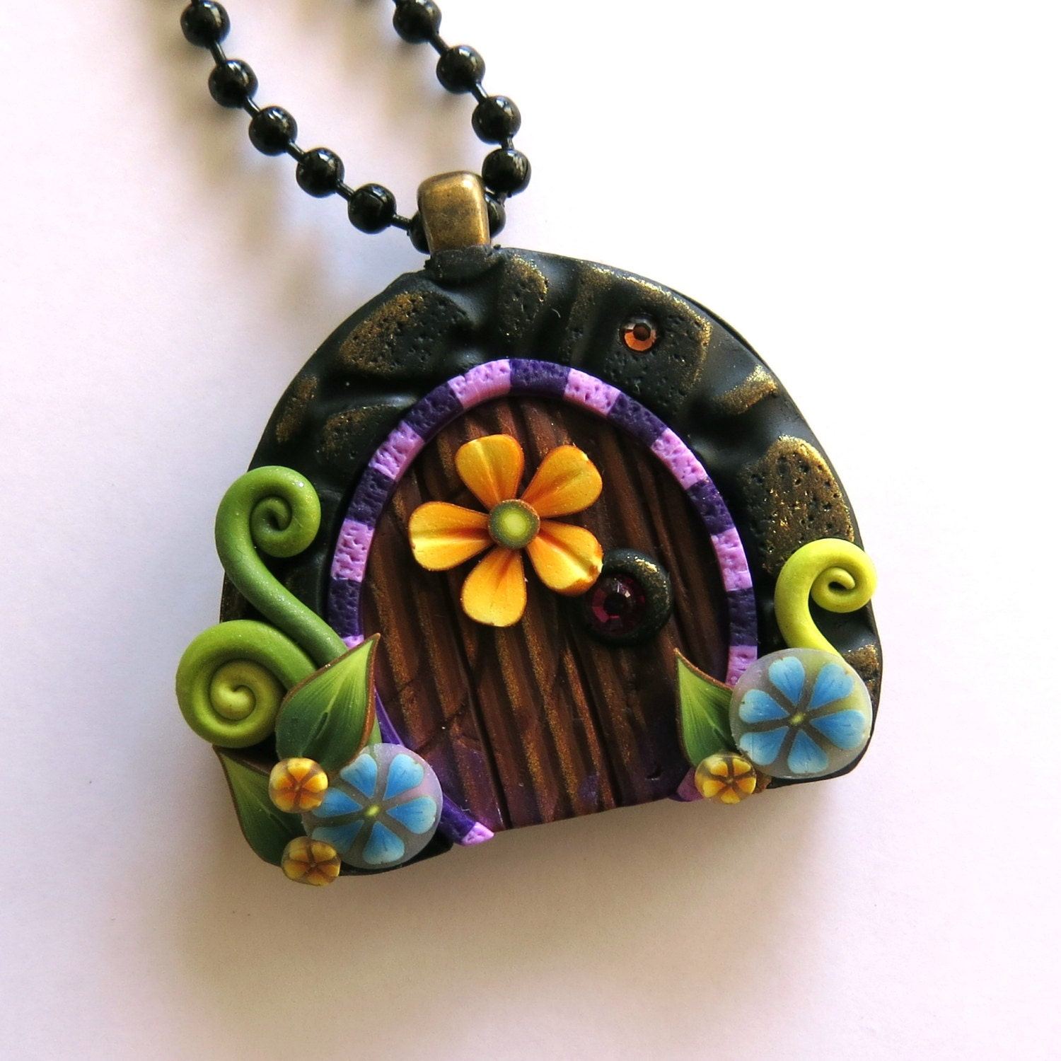 Mini fairy door necklace polymer clay fairy door pendant for Mini fairy door