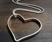 Forever in my Heart, custom personalized open heart stamped sterling silver necklace