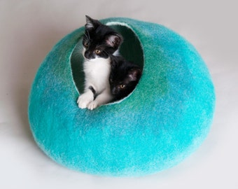 Cat Nap Cocoon / Cave / Bed / House / Vessel - Hand Felted Wool - Crisp Contemporary Design - READY TO SHIP Teal Bubble