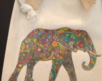 Gift Bag/Pouch, Paisley Elephant