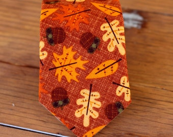 Boys Necktie - fall / autumn leaf print cotton necktie, baby boy necktie, toddler necktie, little boy tie, thanksgiving necktie, gift tie