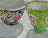 Reserved for Kate Asian Bowls 2 original acrylic mixed media painting by Polly Jones