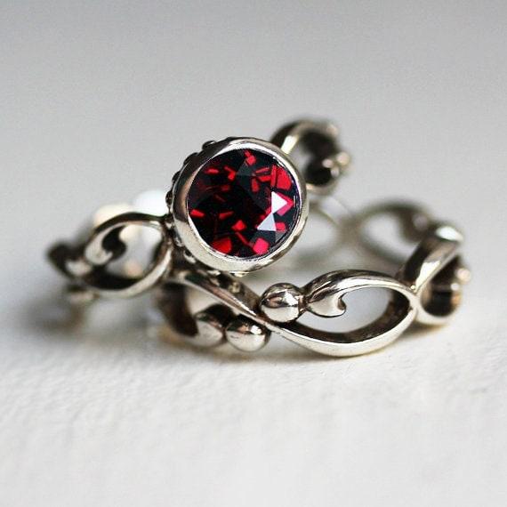 Garnet Engagement Ring Set Garnet Wedding Set Bezel By