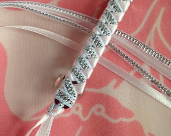 Braided Ribbon Barette in Pink / Silver