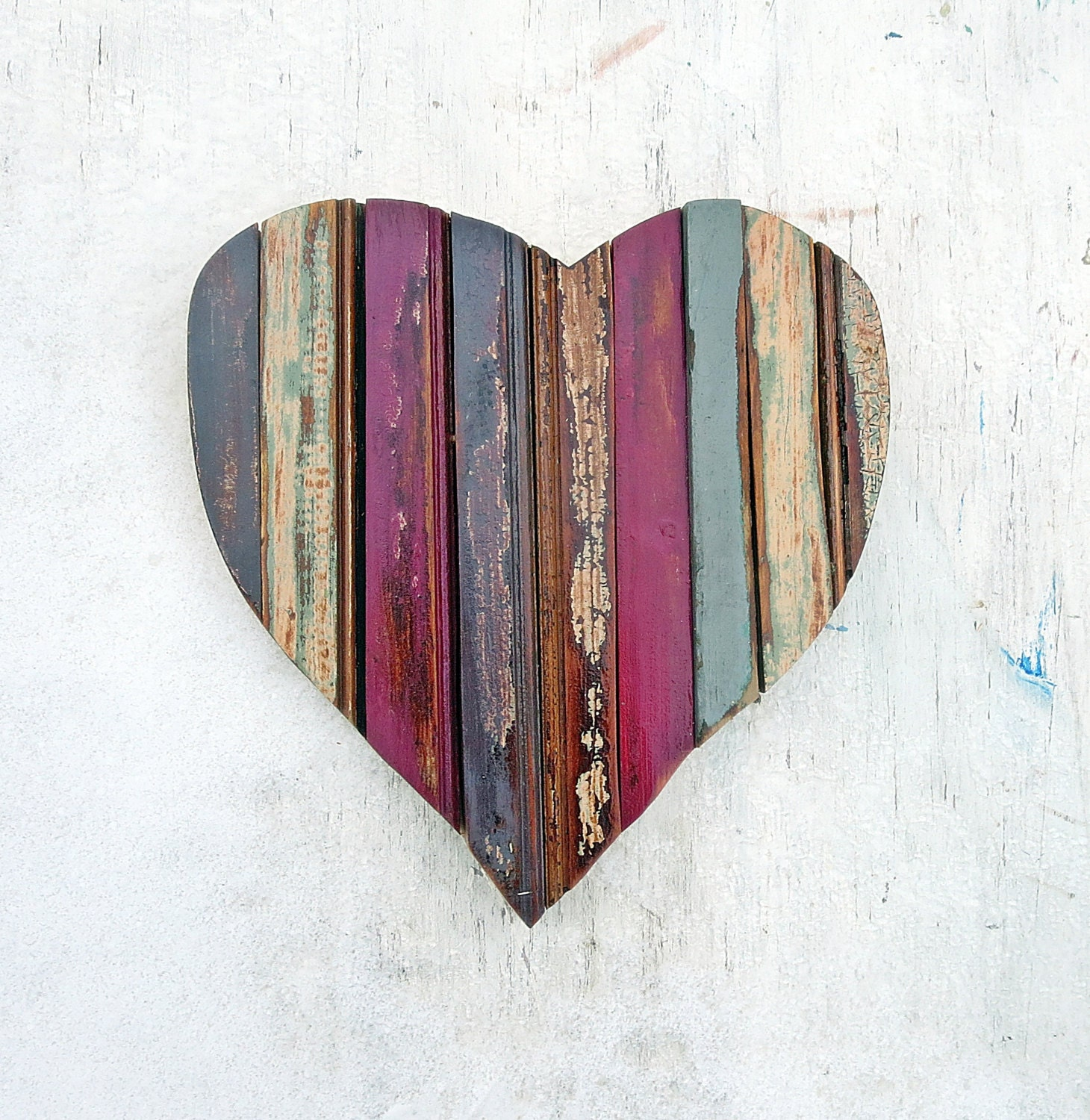 Wooden heart nursery decor mosaic heart reclaimed wood for Wooden heart wall decor