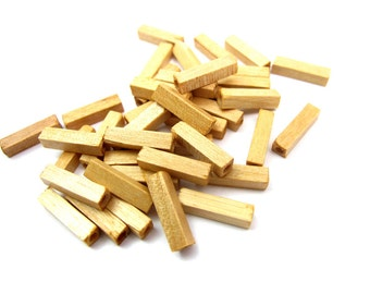 Wood Square Tube Bead Assortment (40X) (NS517)
