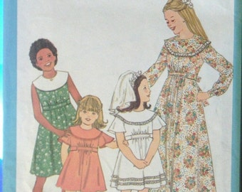 50% OFF SALE 1970s Sewing Pattern Simplicity 8431 Child's Dress Pattern Size 5