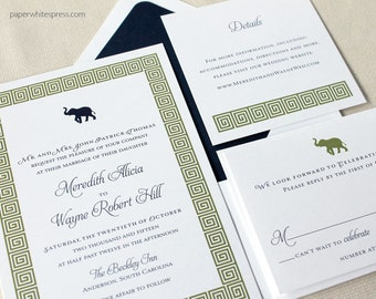 Greek Key Wedding Invitations, Elephant Wedding Invitations, Modern Wedding Invitations, Preppy Wedding Invitations, Contemporary Invites