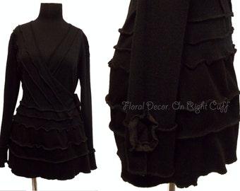 Floral Wrap Cardigan Sweater Jacket M/L Ruffled Recycled Black Womens Clothing Medium Large
