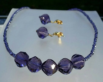 Deep Purple Crystal Necklace and Earrings
