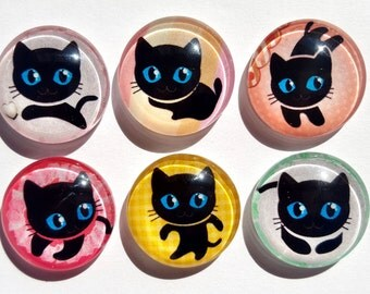Cute Cat Glass Circle Magnets. Strong Magnet Set of 6 Circle Magnets. Round Magnets - Kitchen Decor. Office Decor. Party Favors.  Ver2  05