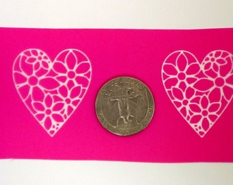 Heart Silkscreen - left and right image - for polymer clay, paper, fabric, glass, earrings, pendants