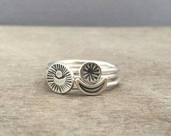 Celestial stacking rings - sterling silver rings - celestial rings - sun and moon rings - unique rings - boho rings - bohemian rings - stack