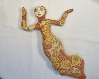 Paisley Promise Goddess cloth art doll form w/face cab 10 in. You finish her Bead Decorate