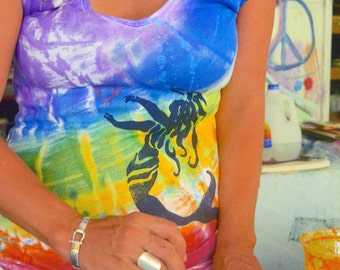 Rainbow Mermaid Cap Sleeve T