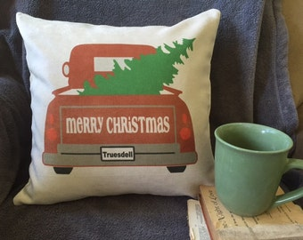 Country truck, holiday throw pillow cover, Christmas pillow, personalized, farmhouse christmas decor