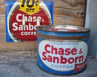 Antique Tins Coffee Tin Mid Century 1950s Decor Kitchenware Kitchen Chase & Sanborn One Pound Keywind Cans Vintage Decorating Lid Can Only