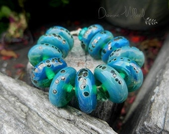 SRA Handmade LAMPWORK Glass Bead Set Donna Millard blue green ocean fall autumn earring pairs