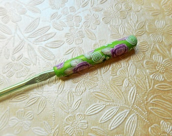 Crochet Hook, Polymer Clay Floral, Boye, Size I, Lime and Pink