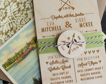 Rustic Wedding Invitation | Wood Engraved Wedding Invitation - Design Fee