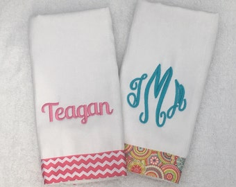 Burp Cloths Personalized Monogrammed - -  Set of 2 -- turquoise aqua baby girl