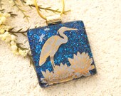 Heron Necklace, Dichroic Jewelry, Fused Glass Jewelry, Dichroic  Necklace, Heron Jewelry, Glass Jewelry, Bird Jewelry,Gold Chain, 011516p100