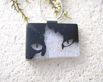 Black Cat Face, Cat Necklace, Dichroic Necklace, Dichroic Jewelry, Fused Glass Jewelry, Necklace Included,Black White Pendant, 091316p102