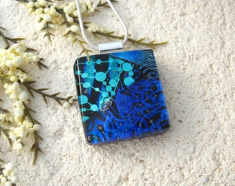 Black Aqua Purple Necklace, Dichroic Glass Necklace, Fused Glass Jewelry, Dichroic Jewelry,Glass Jewelry, Necklace Included 102315p114