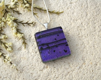 Petite Purple & Black Necklace, Dichroic Jewelry, Fused Glass Jewelry, Glass Pendant, Dichroic Glass Necklace, Silver Chain,  112115p105
