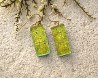 Golden Dichroic Earrings, Dichroic Fused Glass Jewelry, Dangle Drop Earrings, Fused Glass Earrings, Glass Dangle Earrings, 010916e104