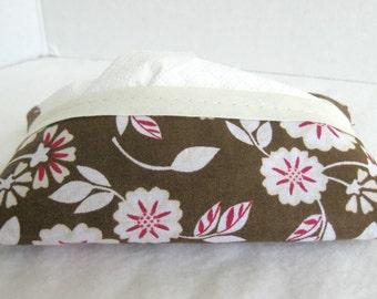 Brown Pink Floral Tissue Holder - Pocket Tissue Cover - Purse Tissue Cover - Brown Floral Tissue Case - Tissue Cozy