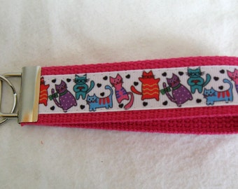 Cats Key Fob - Hot PINK -  Kitty Cat Key Chain - Cat Wristlet Keychain - Cat Lover Gift - PINK
