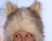 Furry Wolf Hat White Cream Tan Fur Coyote Husky Dog Ears Fetish Costume Unisex Geek Adult Winter Hat Party Costume Wig
