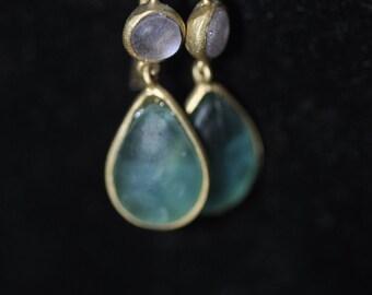 Glass Vermeil Dangle Earrings