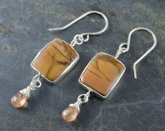 Gemstone Earrings. Cherry Creek Jasper Sterling Silver Earrings. Citrine Birthstone. Cabochon Silver Jewelry. Romantic Jewelry.