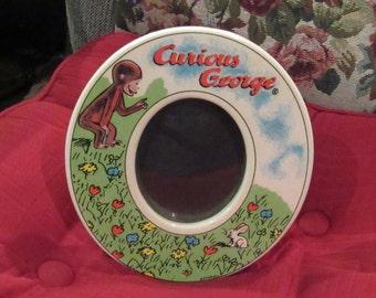 Vintage Curious George Oval Ceramic Photo Frame