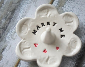 Marry Me, Ring Holder Dish Soft White Ceramic Pottery, Ready to Ship