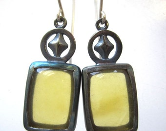 Yellow Opal cabochon and sterling silver earrings, Rectangular earrings, yellow earrings, antiqued earrings, circle and diamond design